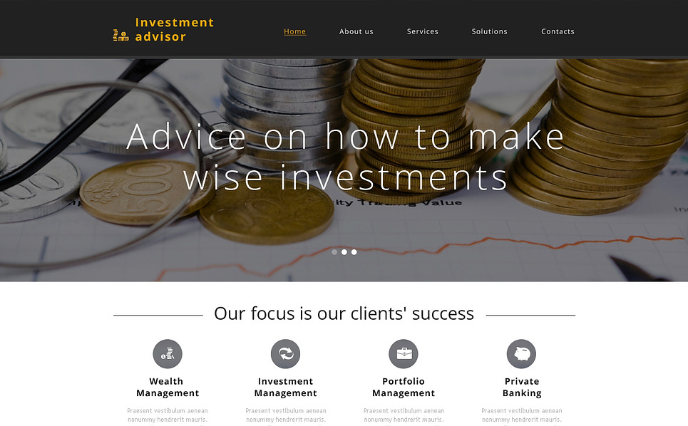 Modello Siti Web Responsive #46778 per Un Sito di Società d'Investimento New Screenshots BIG
