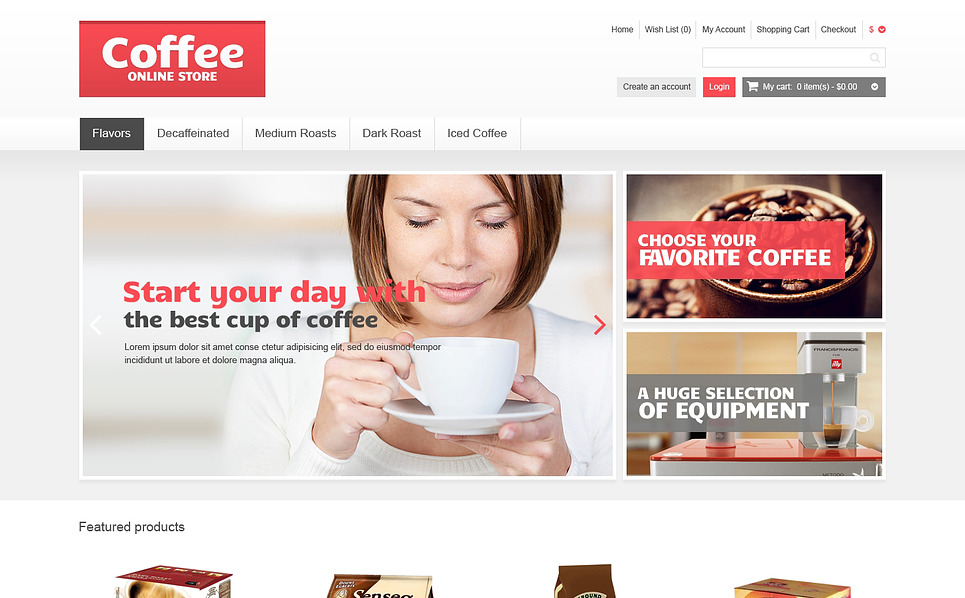 "OpenCart Vorlage namens ""Responsive Kaffee Shop"" New Screenshots BIG"