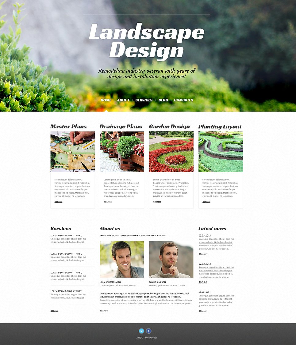 Адаптивный шаблон сайта на тему ландшафтный дизайн #46728