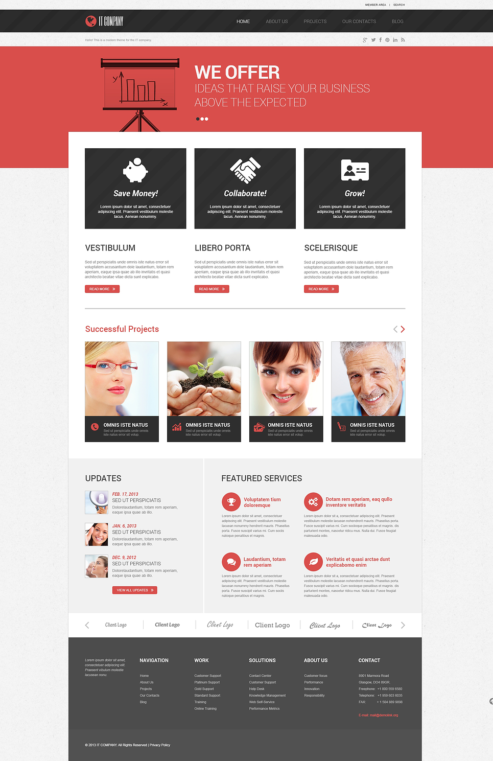 Адаптивный шаблон сайта на тему информационные технологии #46729