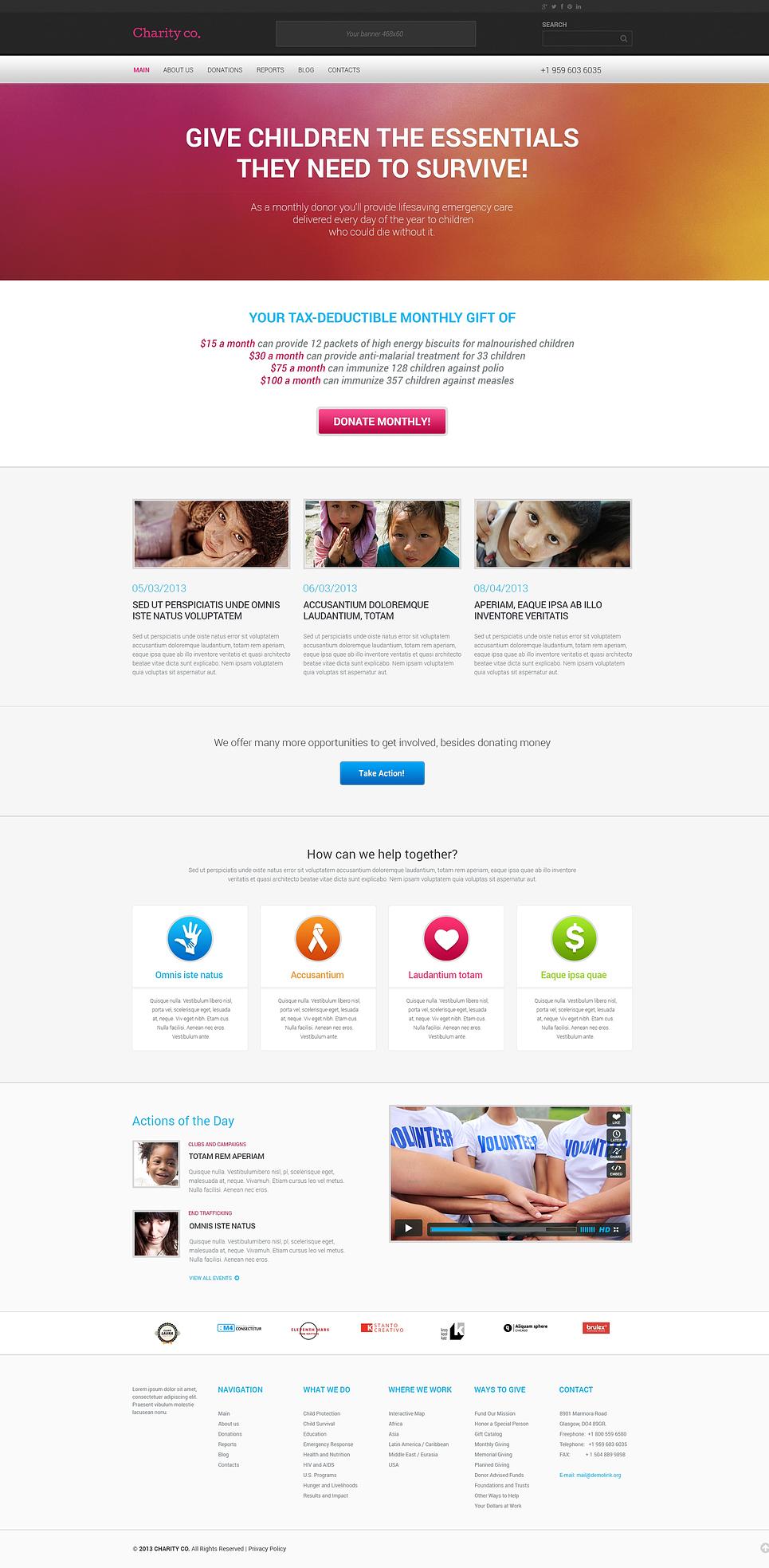 Адаптивный шаблон сайта на тему благотворительность #46791