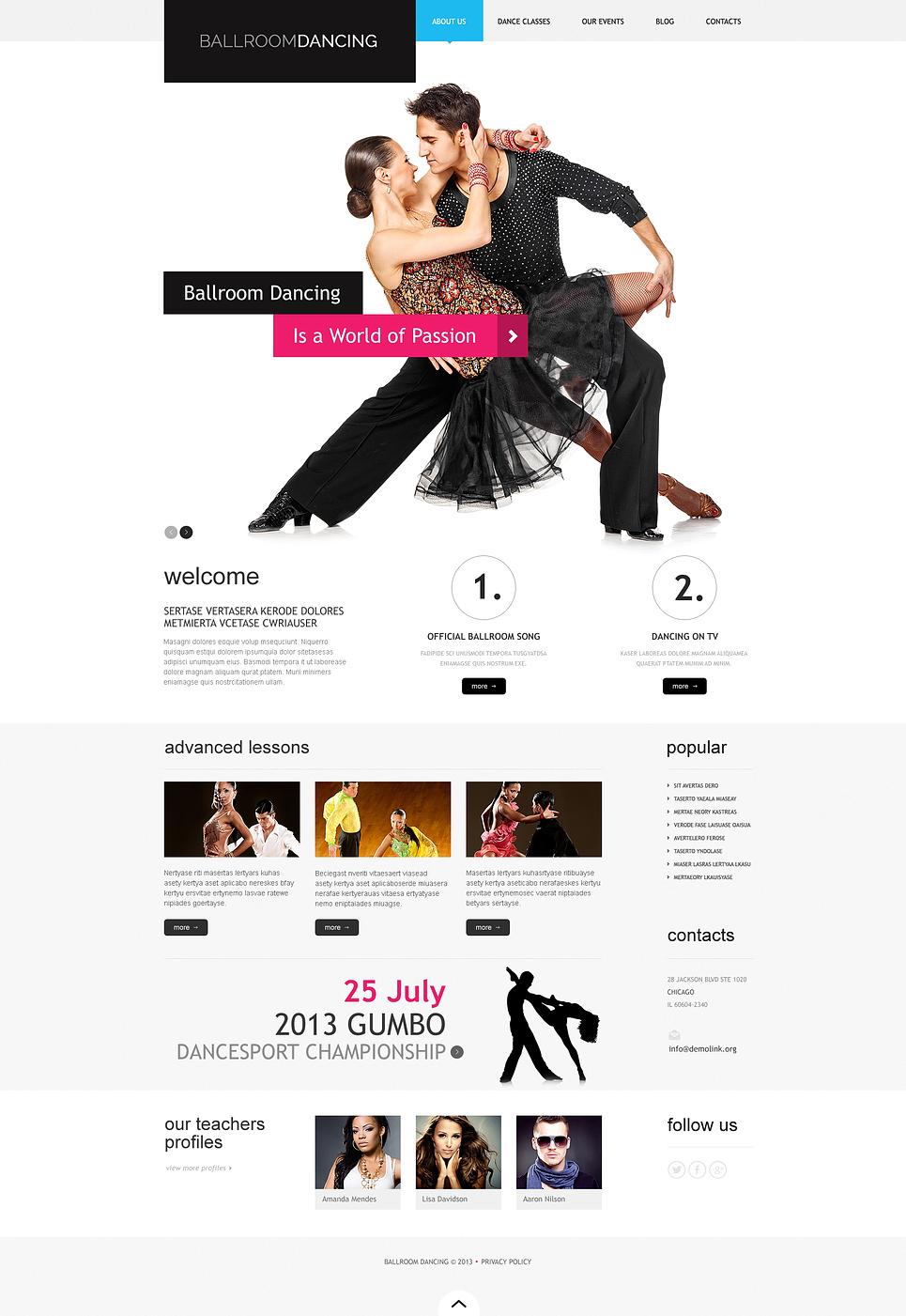 Адаптивный шаблон сайта на тему танцевальная студия #46792