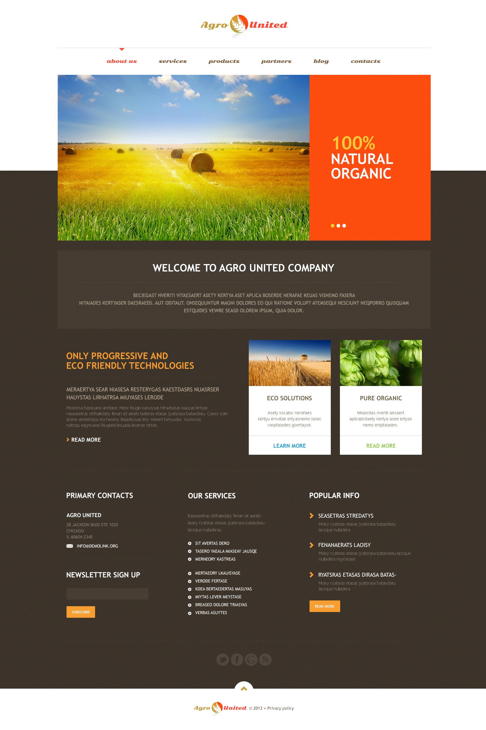 Agriculture to Impress Tema WordPress №46731 - captura de tela