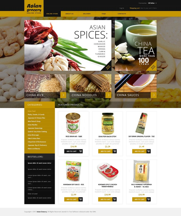 Asian Grocery VirtueMart Template New Screenshots BIG