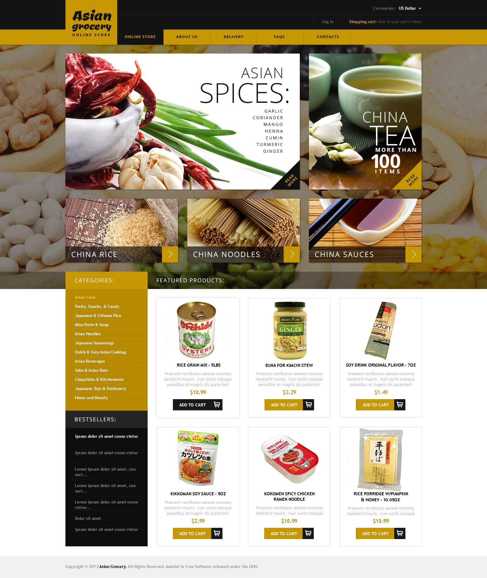 Asian Grocery VirtueMart Template  Grocery Templates Free