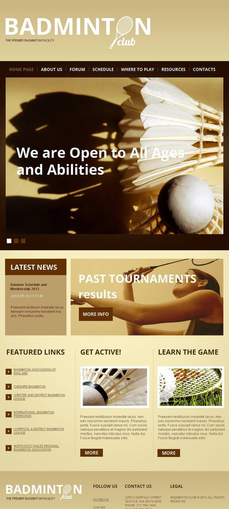 Badminton Facebook HTML CMS Template New Screenshots BIG
