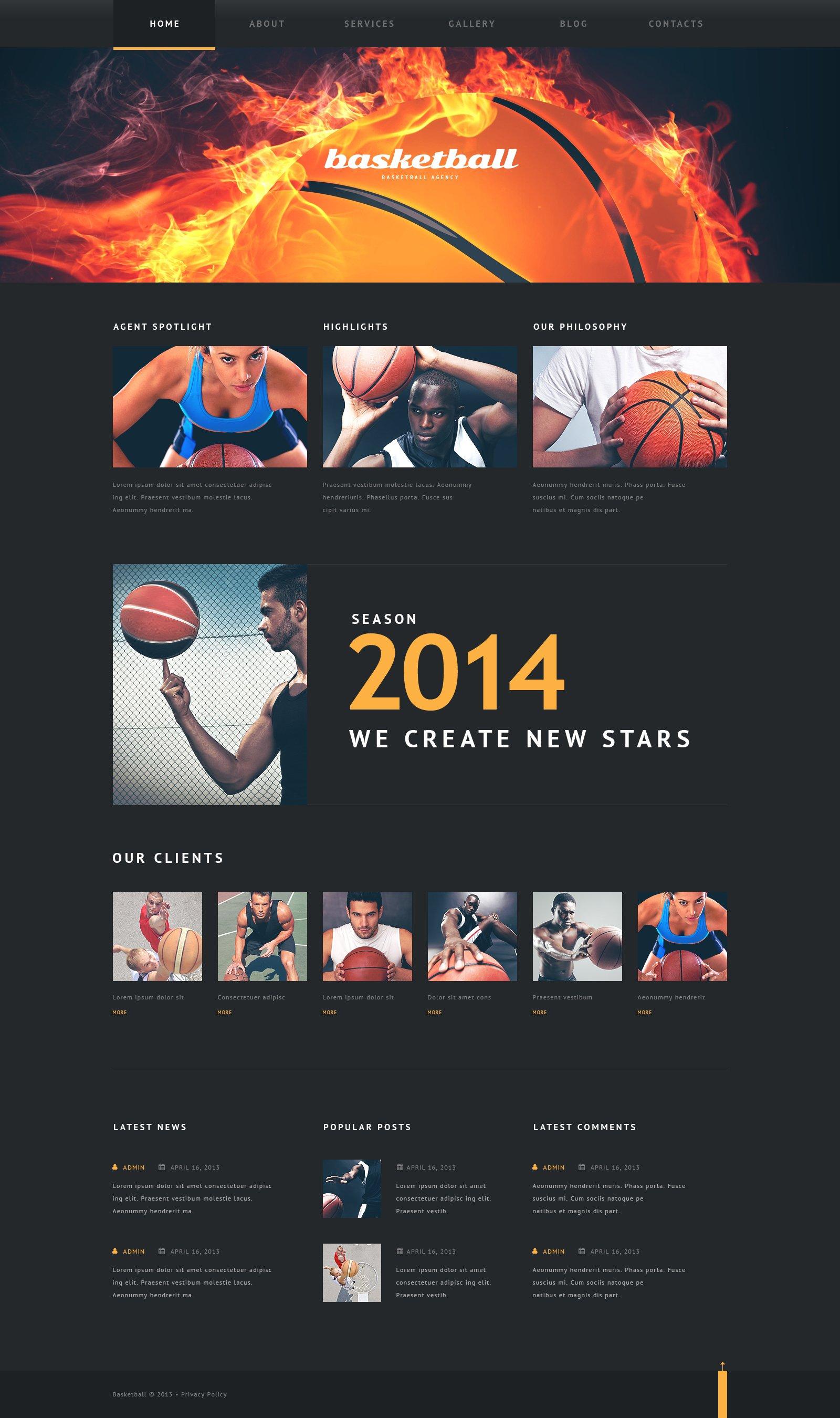 """Basketball Put on Fire"" Responsive WordPress thema №46793"