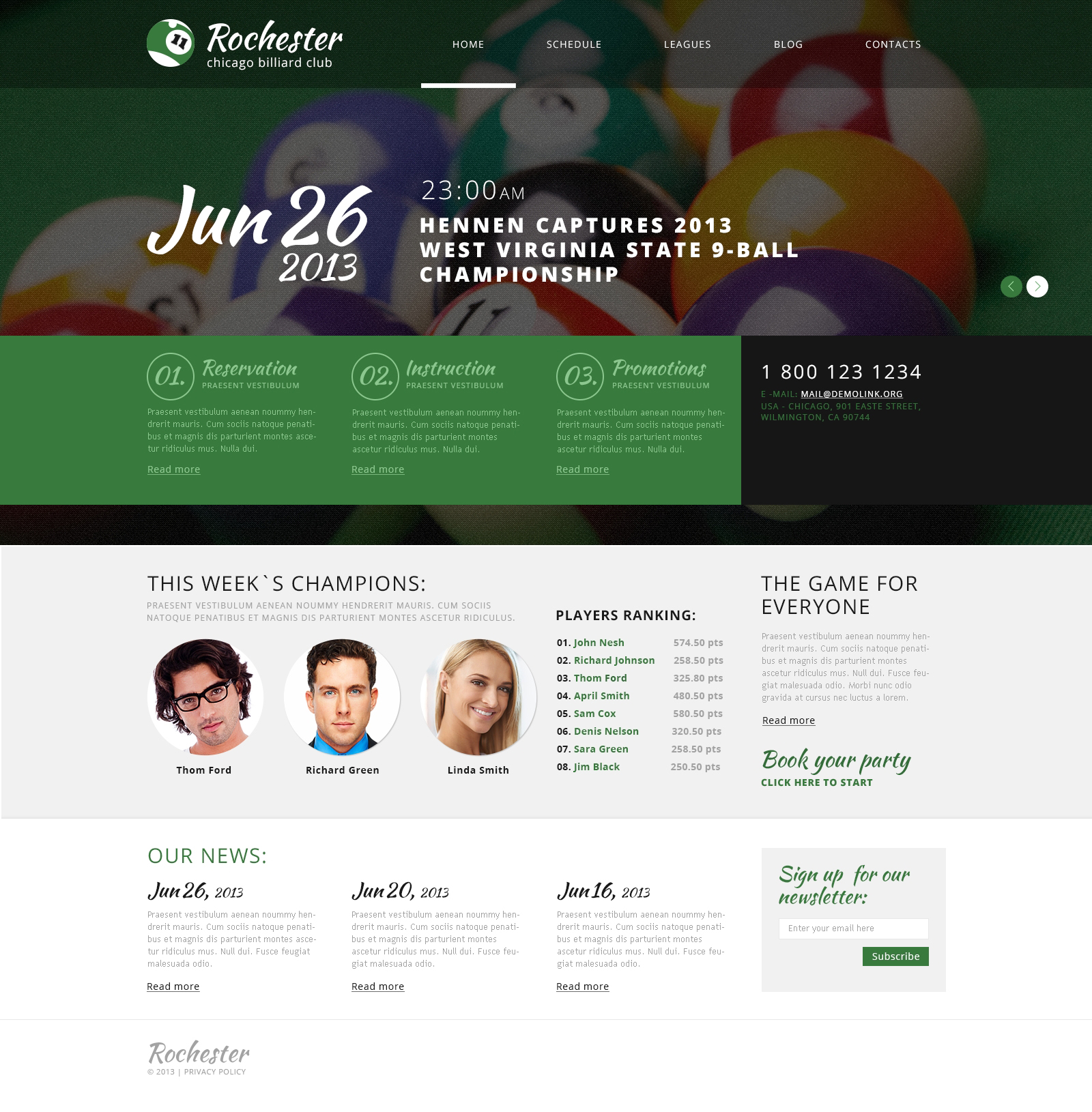 Billiard Club WordPress Theme
