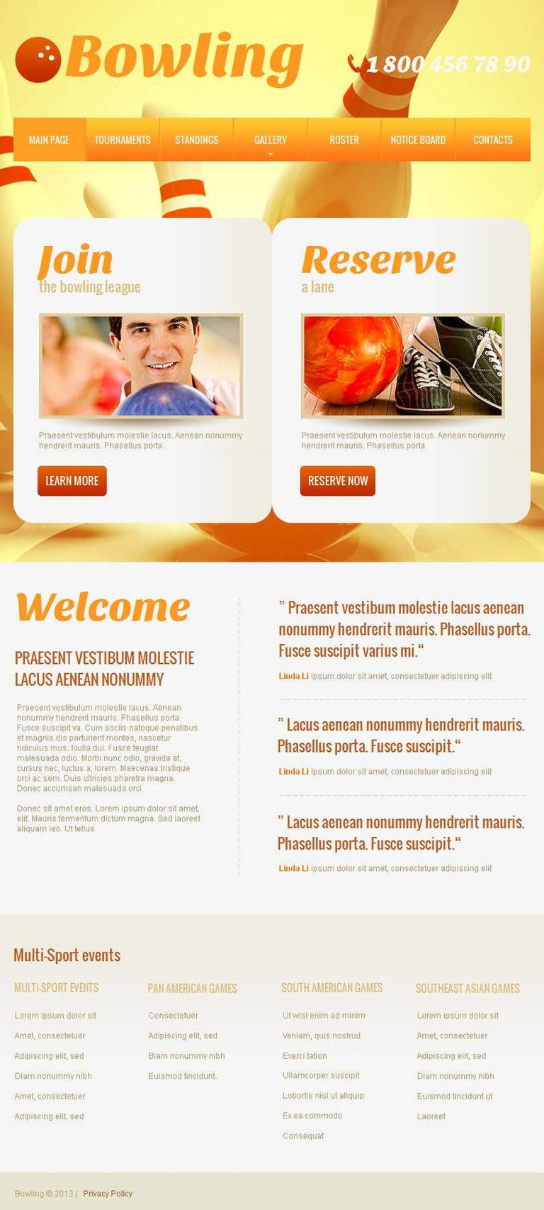 Bowling Facebook HTML CMS Template New Screenshots BIG