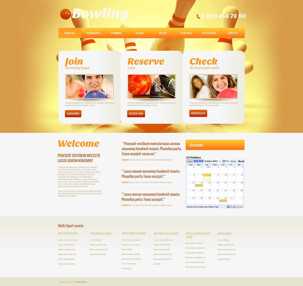 Bowling Moto CMS HTML Template New Screenshots BIG