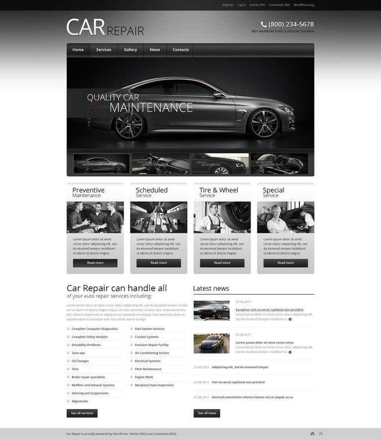 Car Retro Elegance WordPress Theme New Screenshots BIG