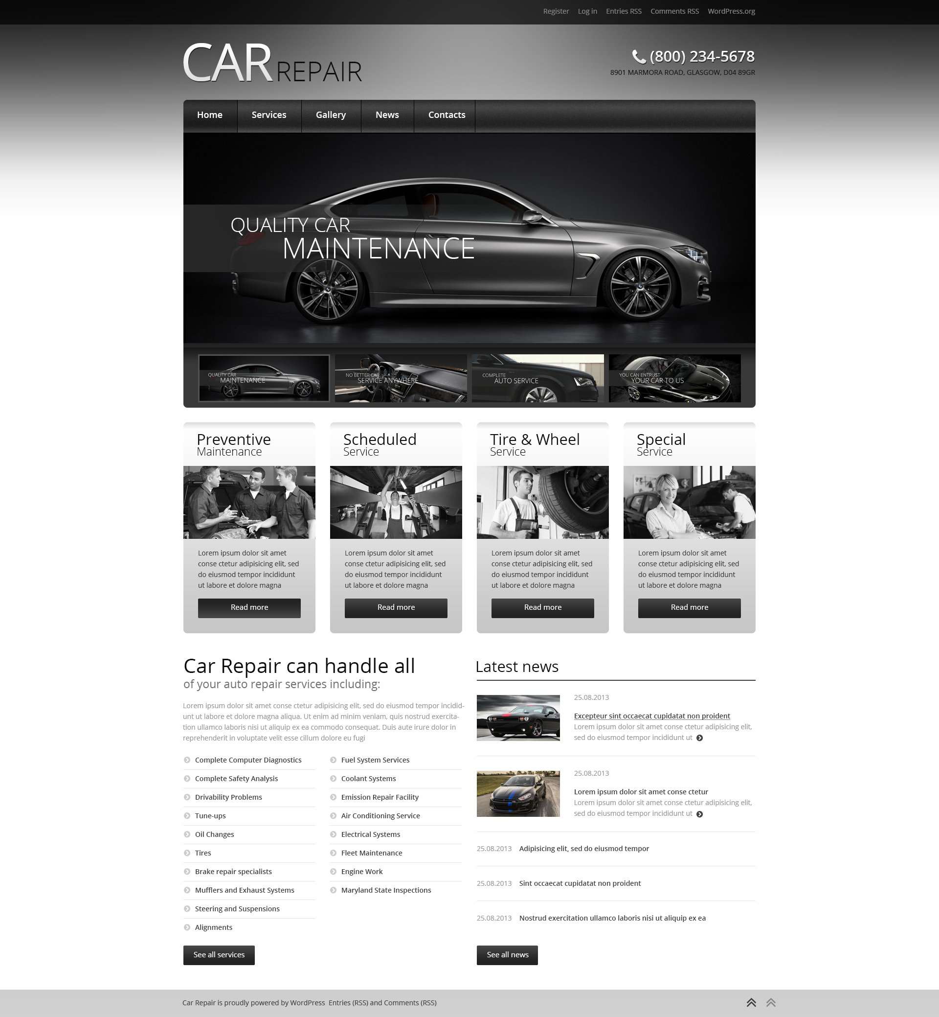Car Retro Elegance WordPress Theme - screenshot
