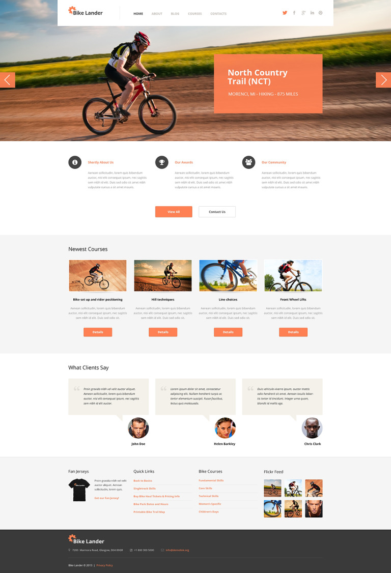 Cycling Club WordPress Theme New Screenshots BIG