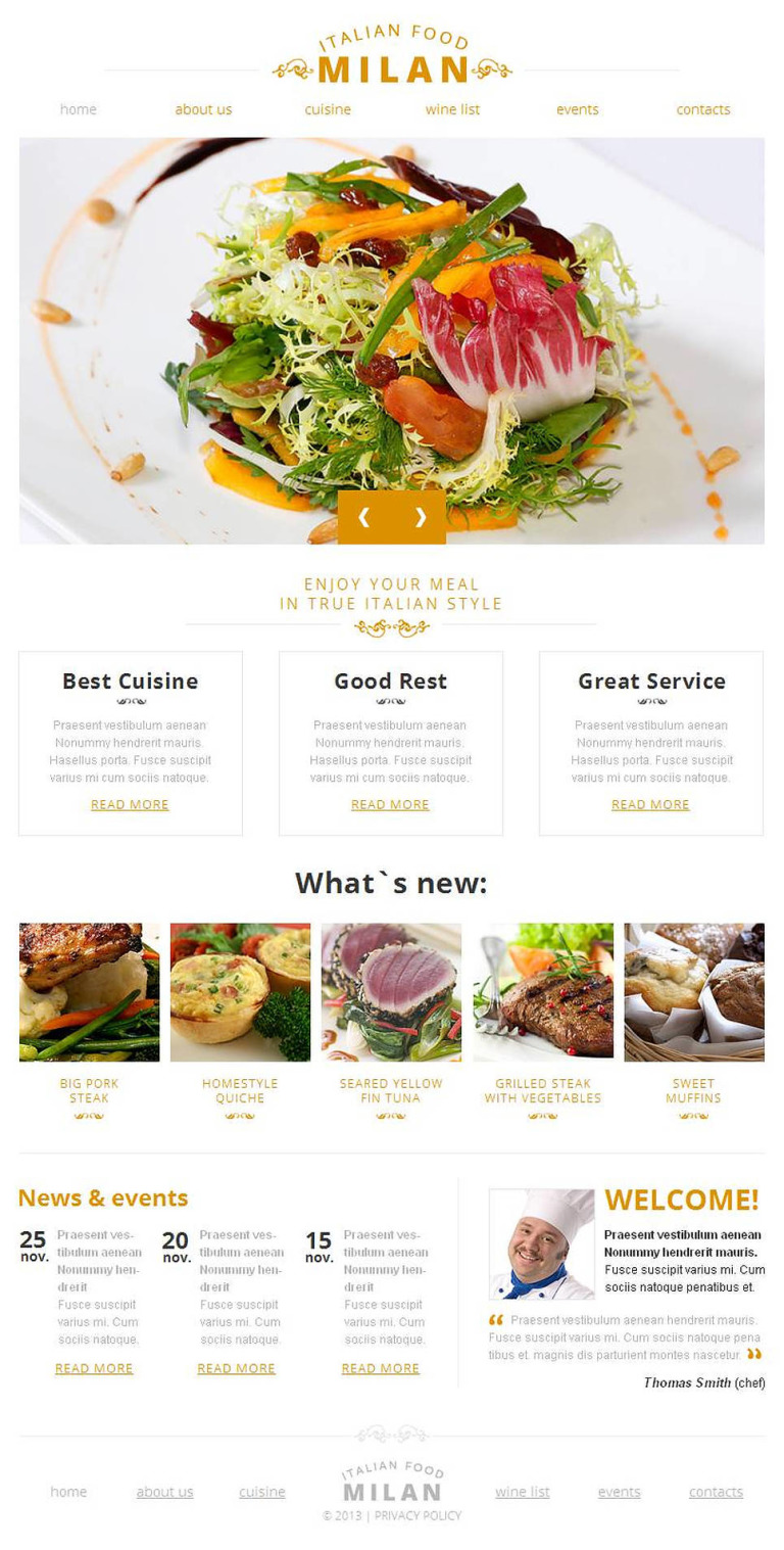Italian Restaurant Facebook HTML CMS Template New Screenshots BIG