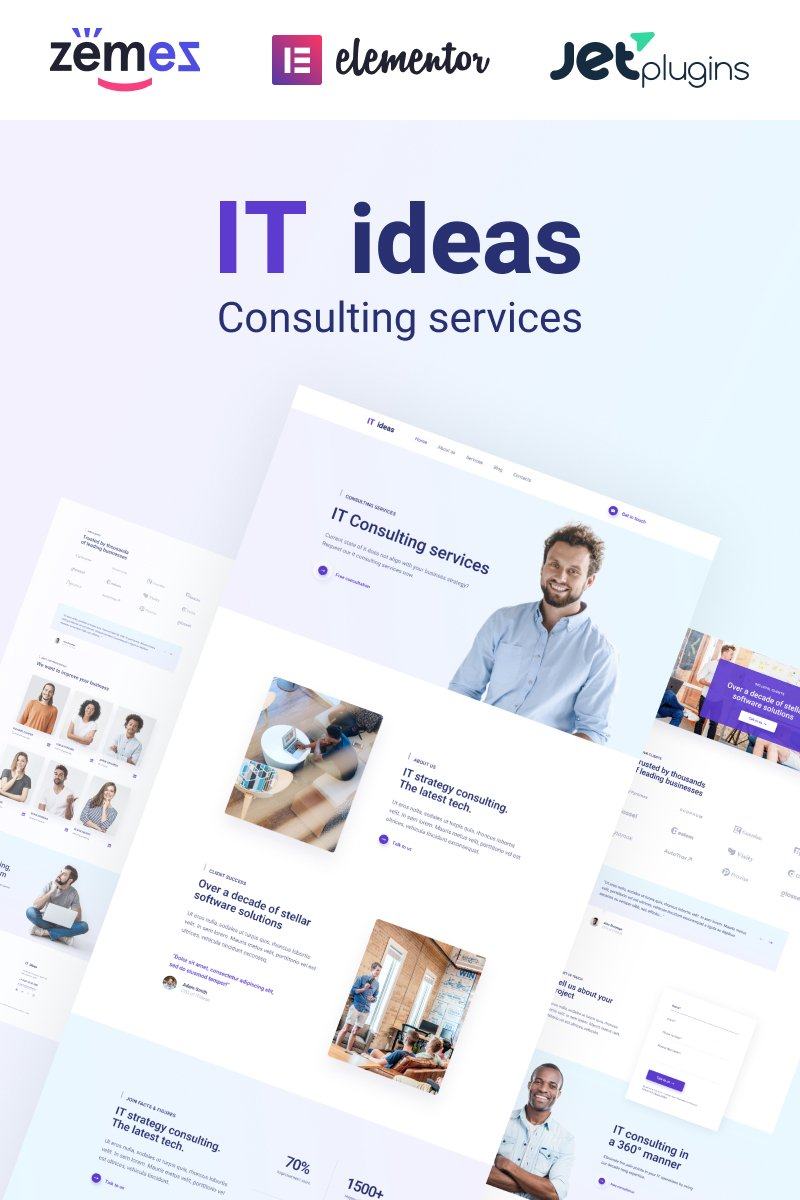 """ITIdeas - Consulting Website Template for"" - адаптивний WordPress шаблон №46787"