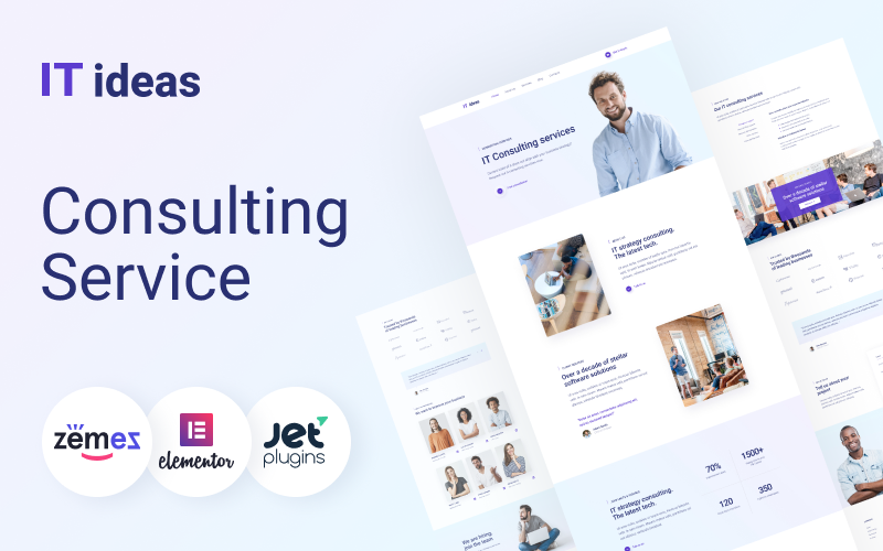 """ITIdeas - Consulting Website Template for"" 响应式WordPress模板 #46787"
