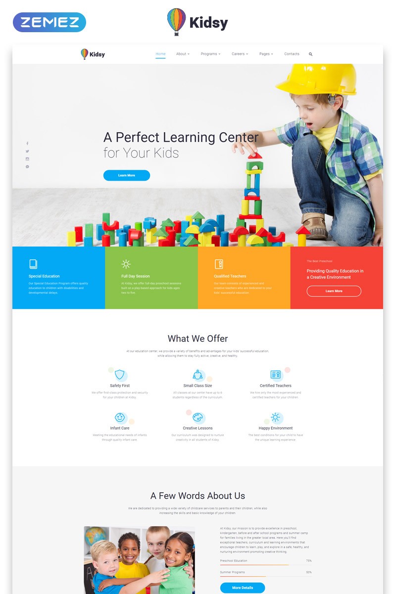 """""""Kidsy - Learning Center Multipage Clean HTML5"""" Responsive Website template №46779"""