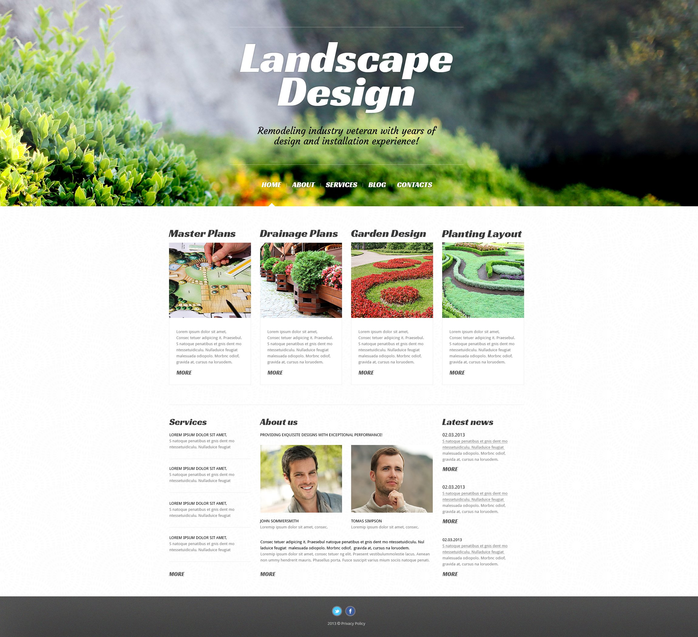 """Landscape Design Alive"" 响应式WordPress模板 #46728 - 截图"