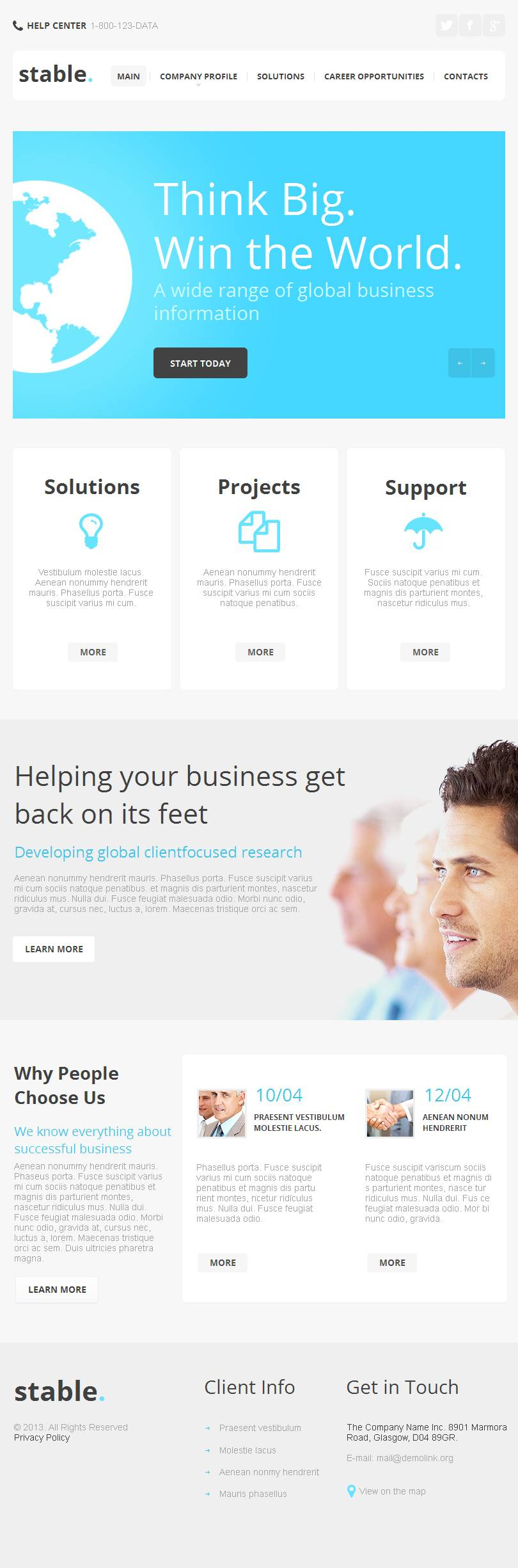 Facebook company profile - Management Company Facebook Html Cms Template