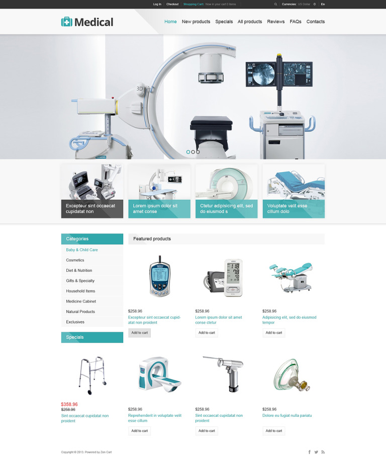 Medical Store ZenCart Template New Screenshots BIG