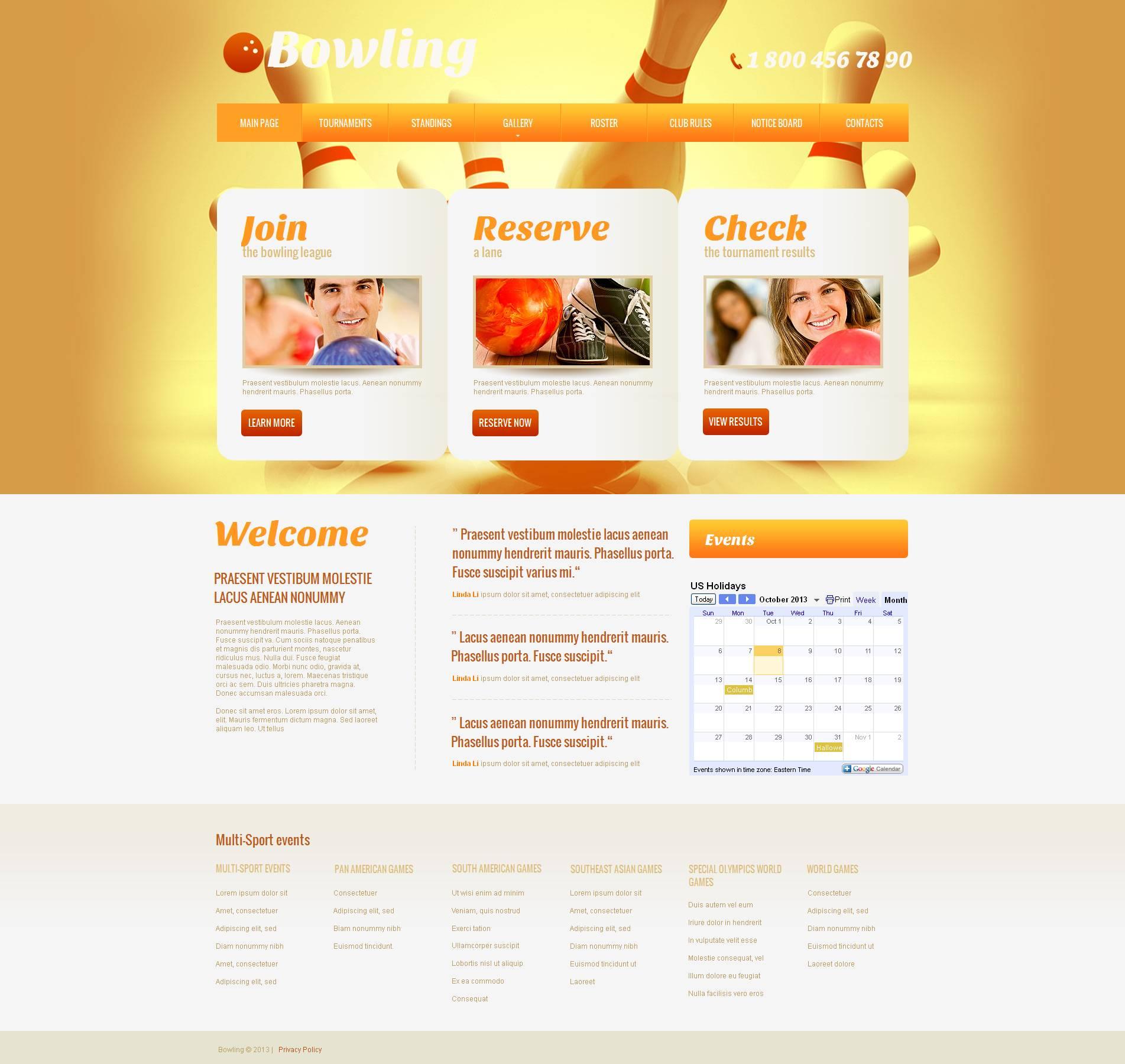 Modèle Moto CMS HTML Premium pour site de bowling #46745