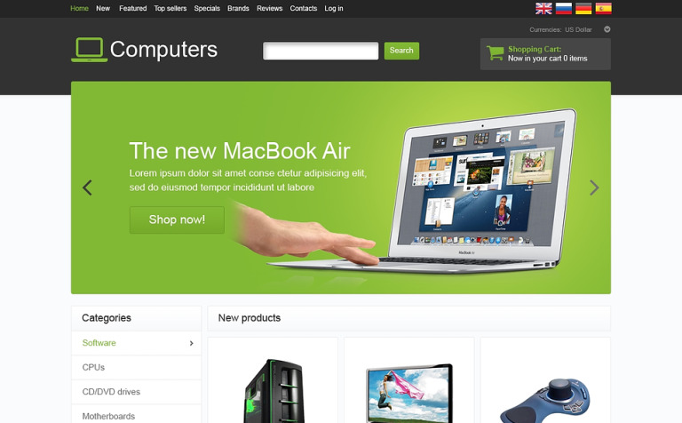 Modern Computers OsCommerce Template