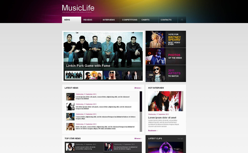 Moto CMS HTML Vorlage für Musikportal  New Screenshots BIG