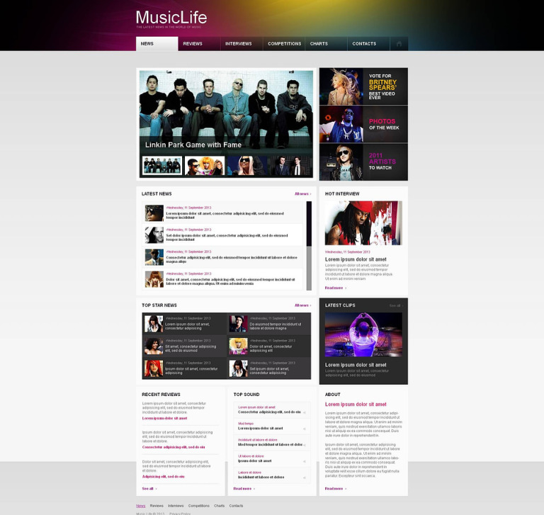 Music Portal Moto CMS HTML Template New Screenshots BIG