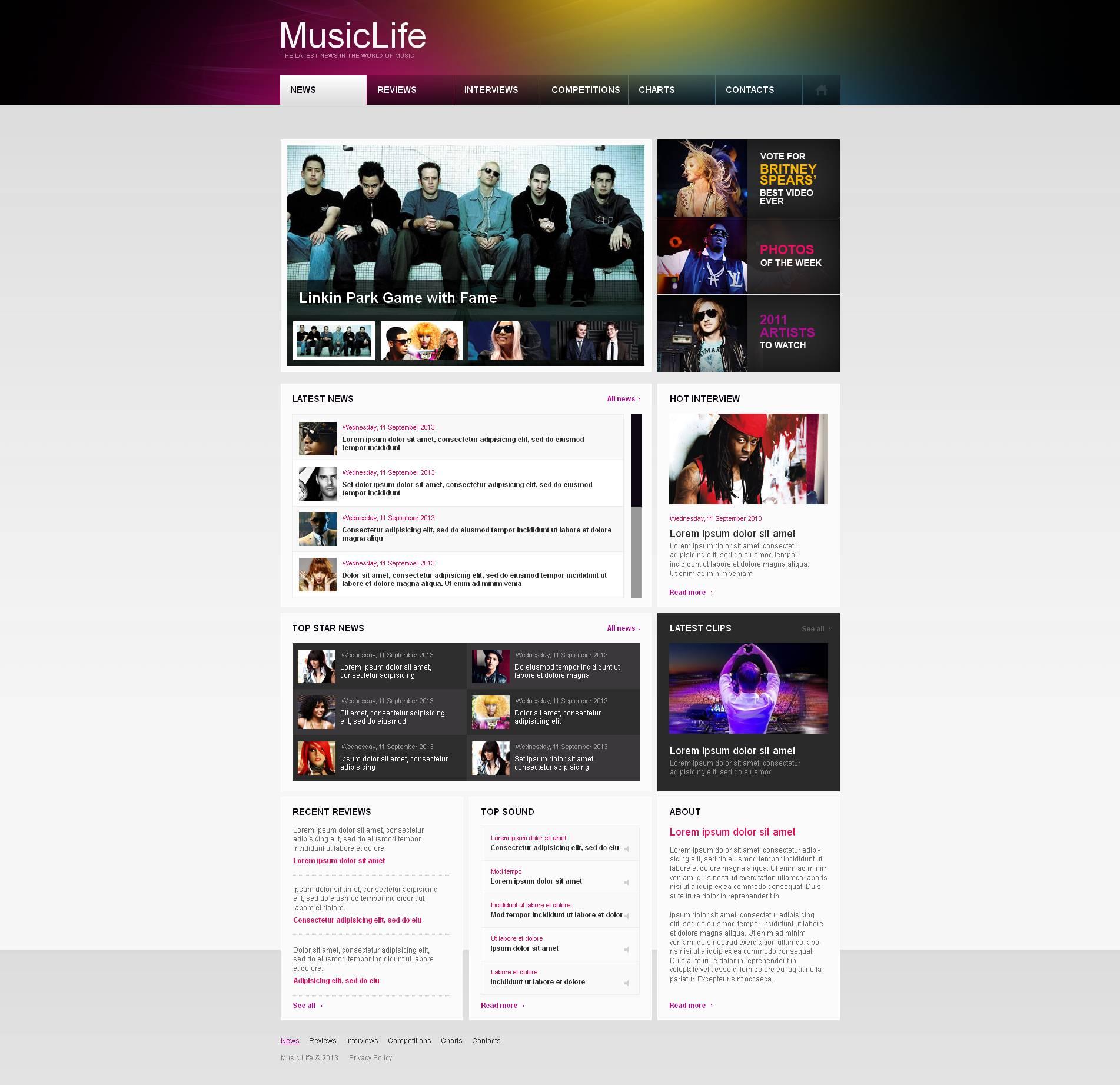 Plantilla Moto CMS HTML #46742 para Sitio de Portal de Música