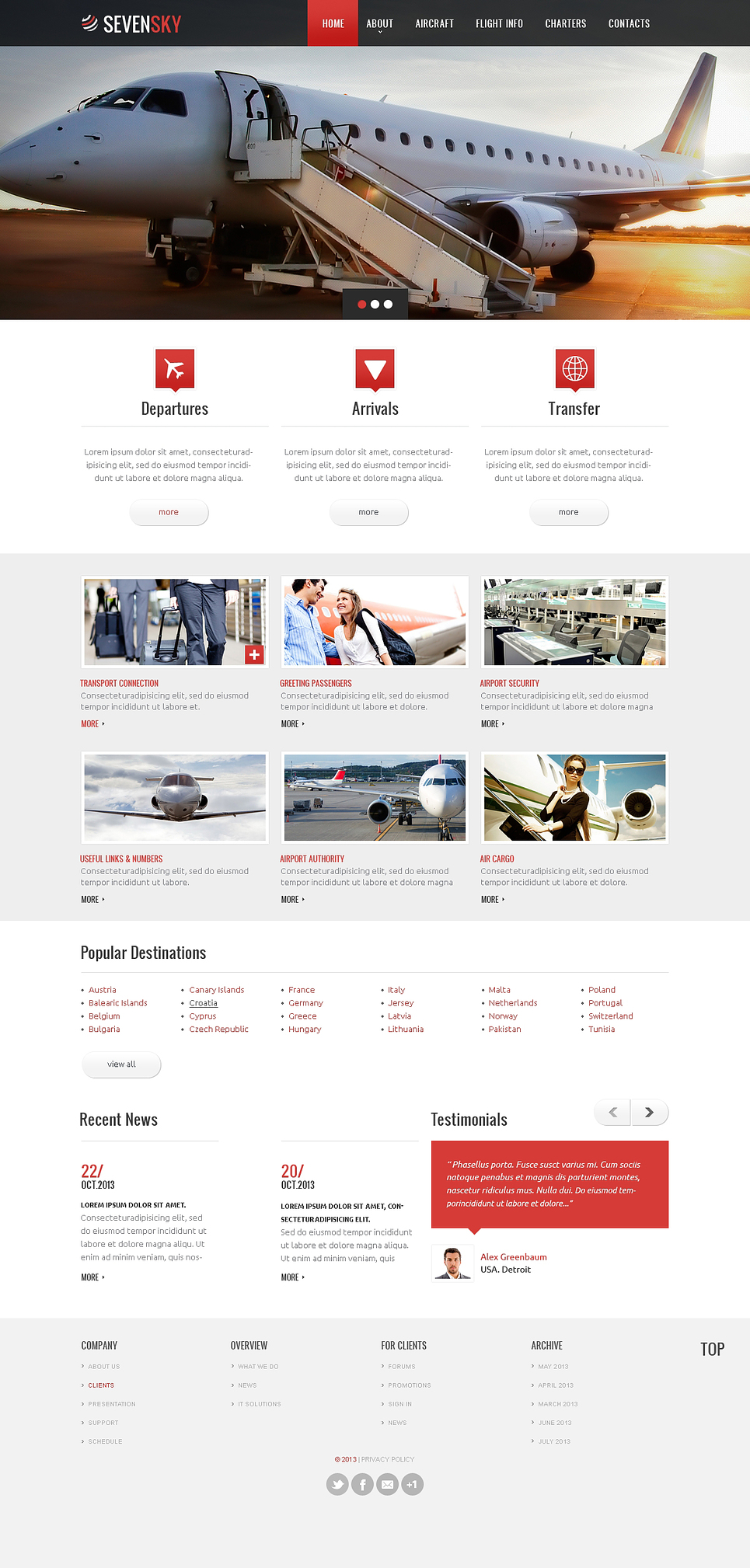Private Airline Responsive Website Template 46724