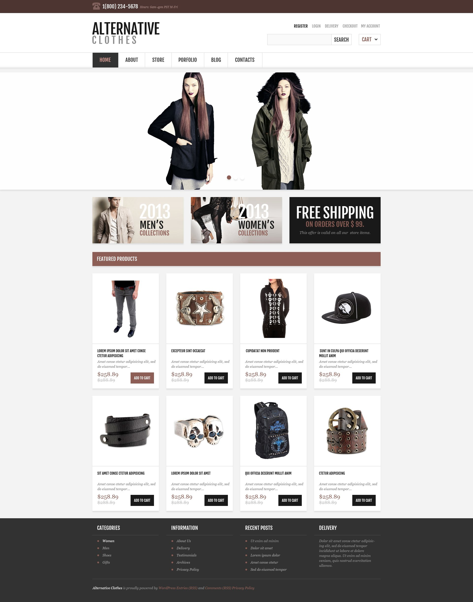 Responsive Alternative Store WooCommerce Theme - Free ecommerce website templates shopping cart