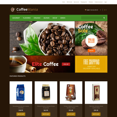 opencart bookstore template - coffee shop opencart templates