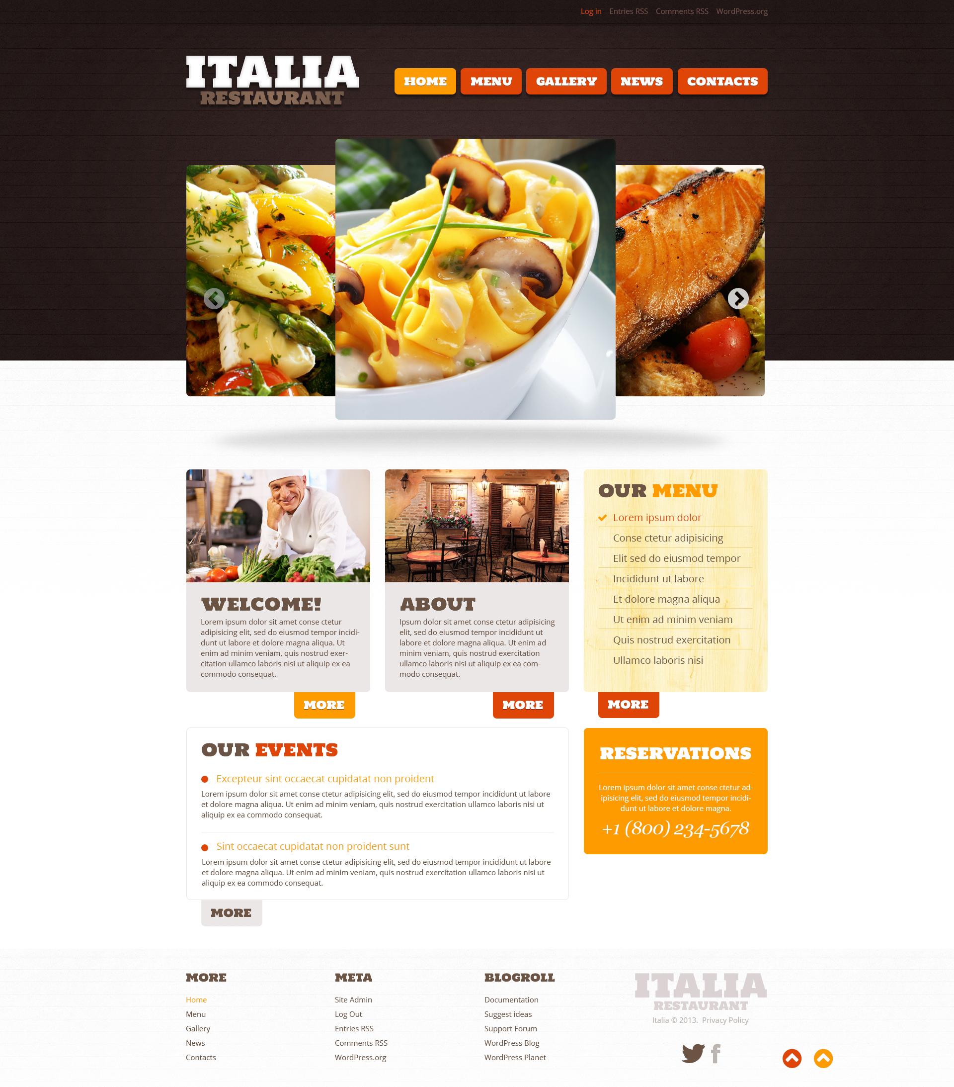 Responsive Restaurant of Italian Food Wordpress #46785 - Ekran resmi