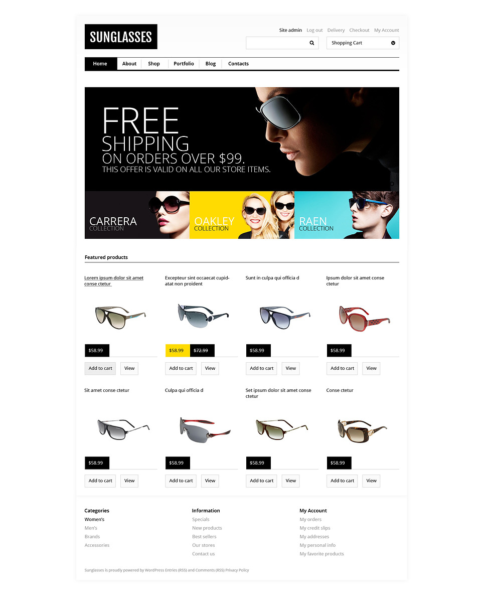 Responsive Sunglasses Store WooCommerce Theme New Screenshots BIG