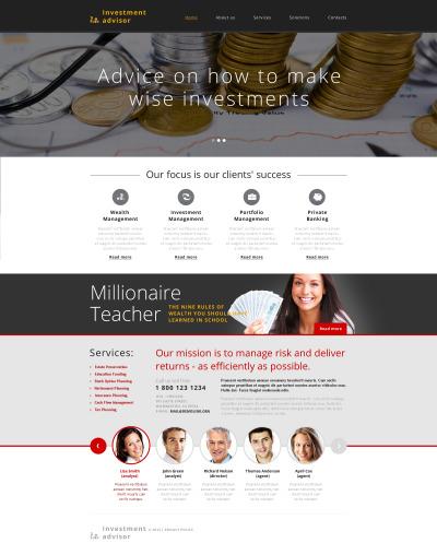 Responsive Website Vorlage für Investmentgesellschaft