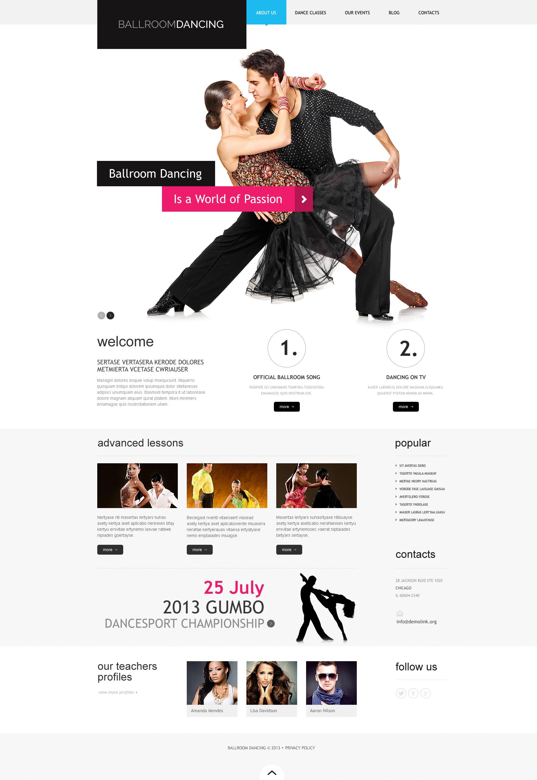 Responsive WordPress thema over Dansstudio №46792 - screenshot