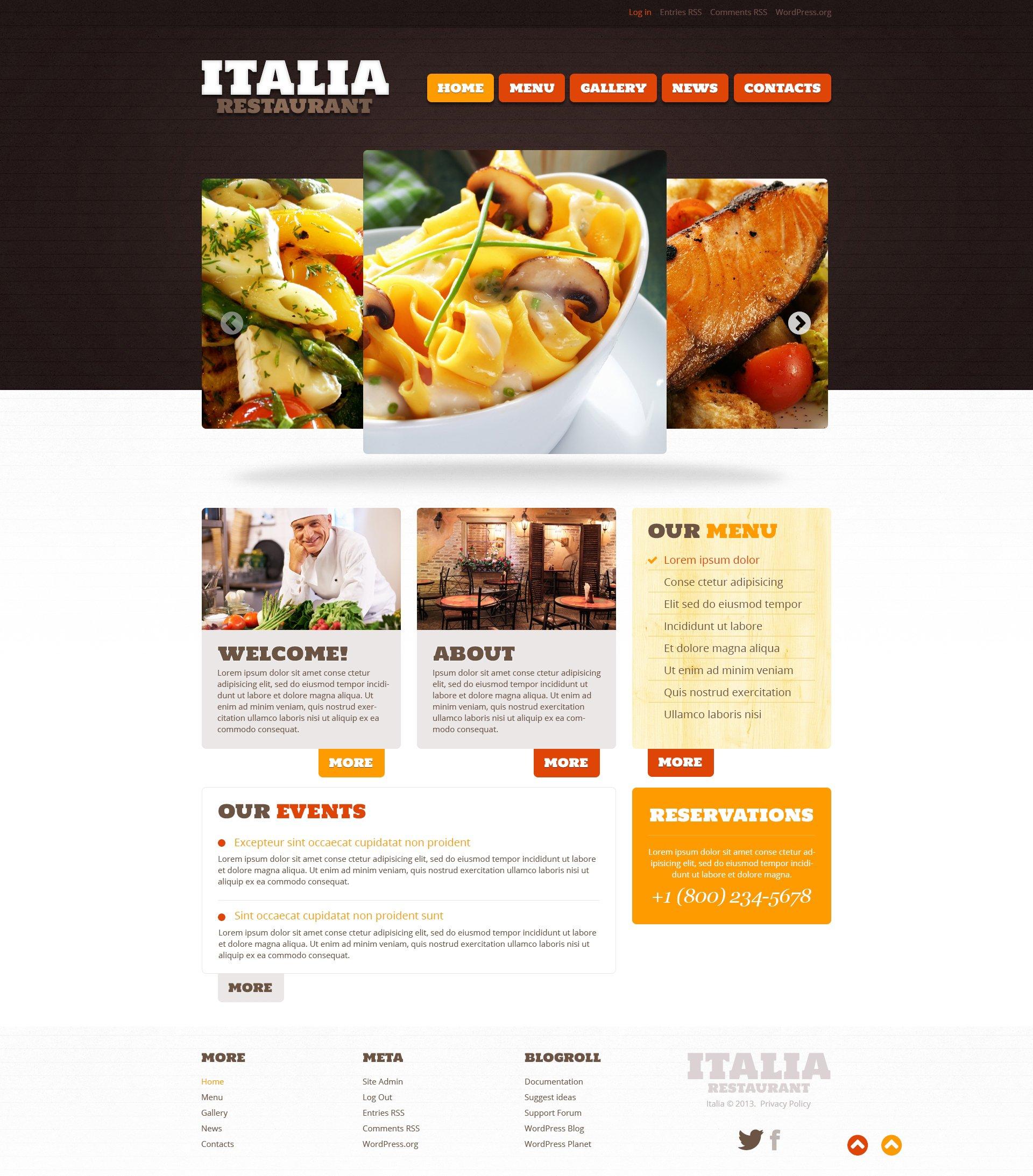 Responsywny motyw WordPress Restaurant of Italian Food #46785 - zrzut ekranu