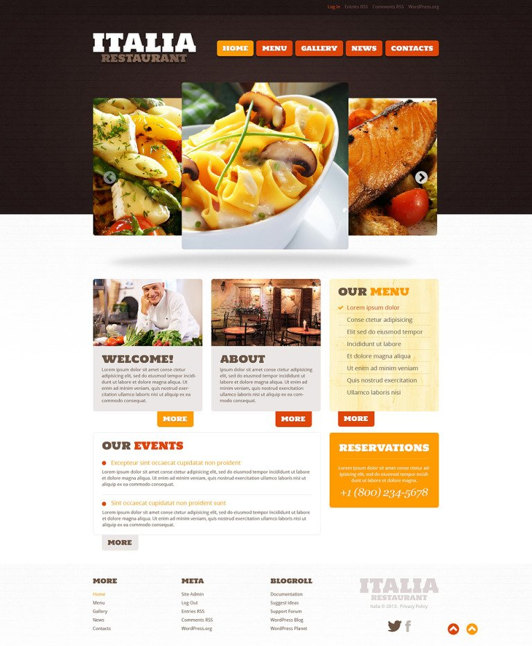 Restaurant of Italian Food WordPress Theme New Screenshots BIG