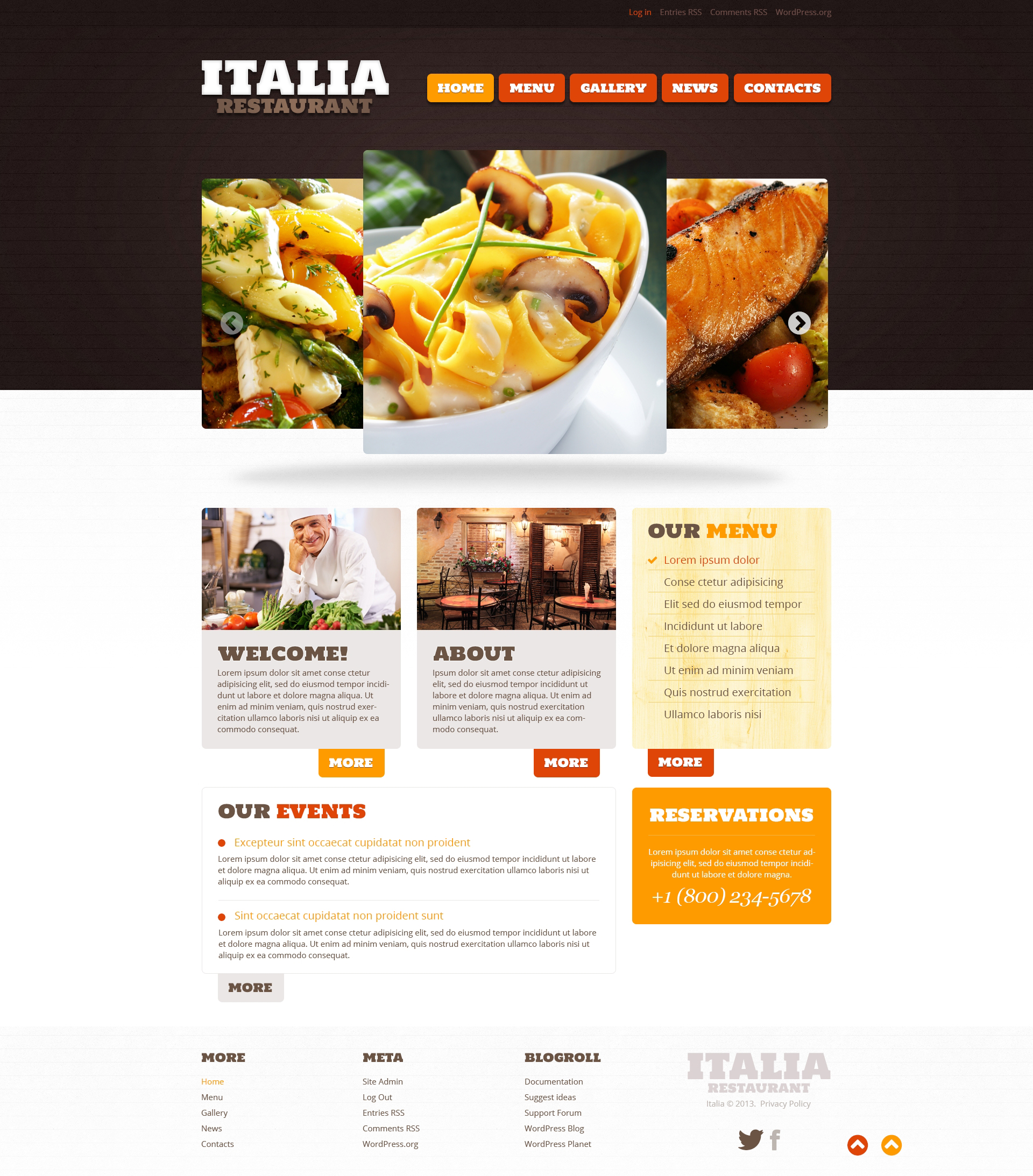 Restaurant of Italian Food WordPress Theme