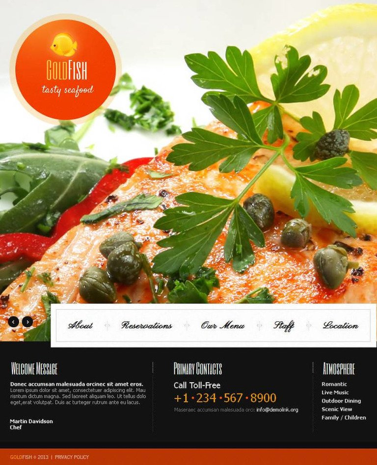 Seafood Restaurant Facebook HTML CMS Template New Screenshots BIG