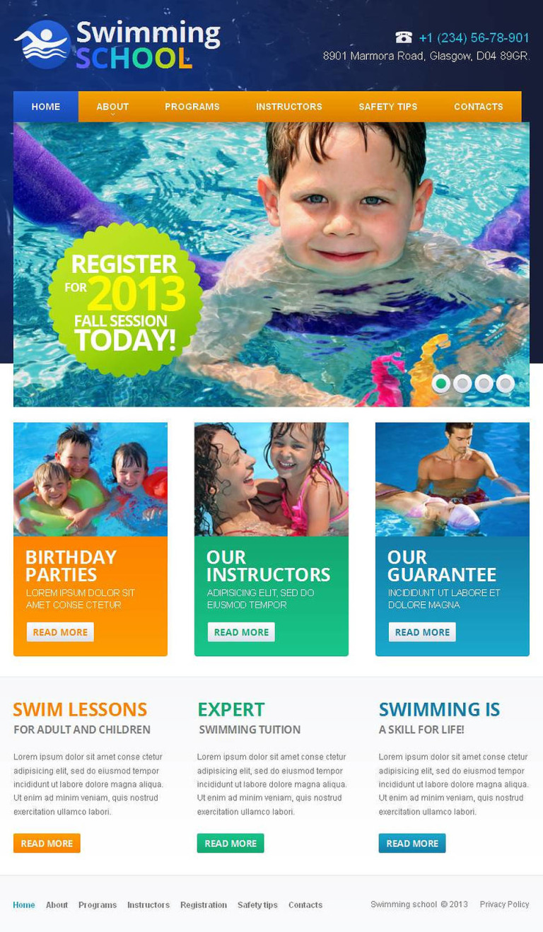 Swimming Facebook HTML CMS Template New Screenshots BIG