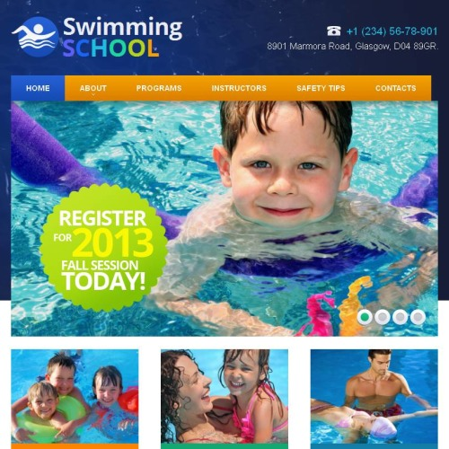 Swimming School - Facebook HTML CMS Template