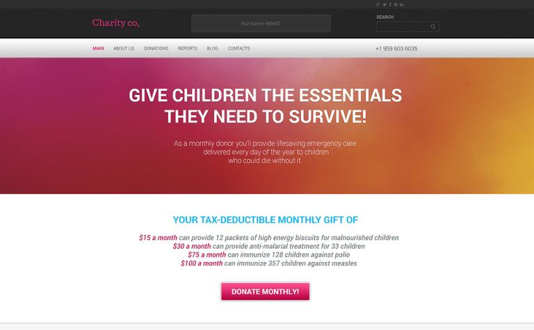 Tema de WordPress #46791 para Sitio de Caridad