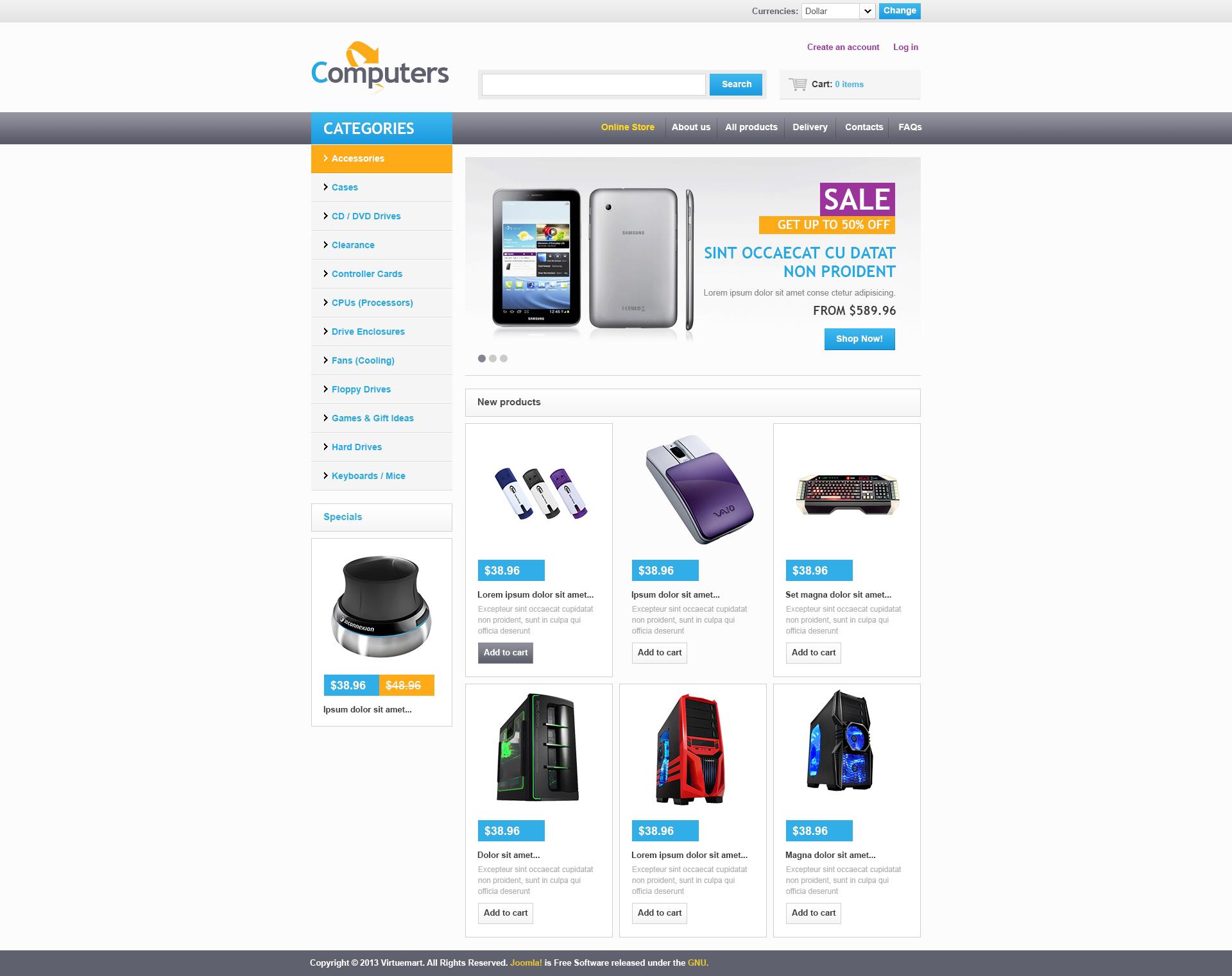 """VirtueMart Vorlage namens """"Computer Online"""" #46735"""