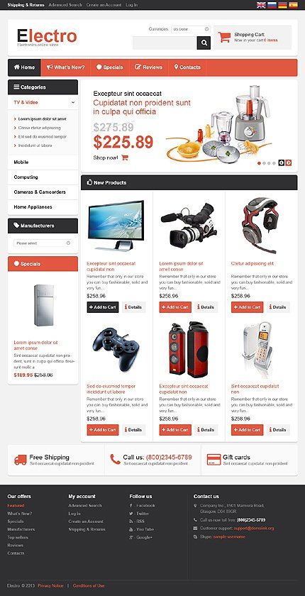osCommerce Template 46810 Main Page Screenshot