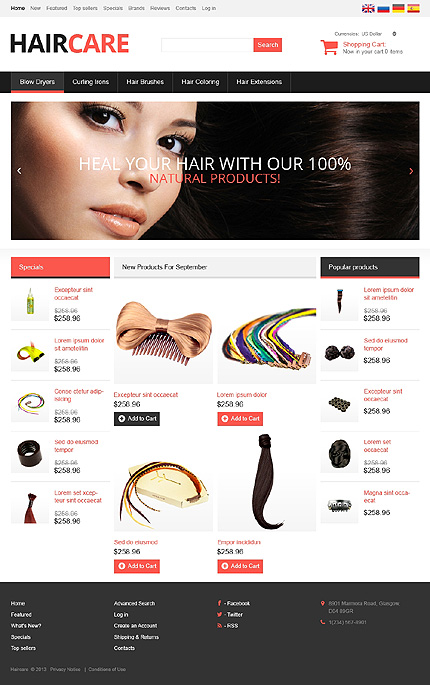 osCommerce Template 46811 Main Page Screenshot
