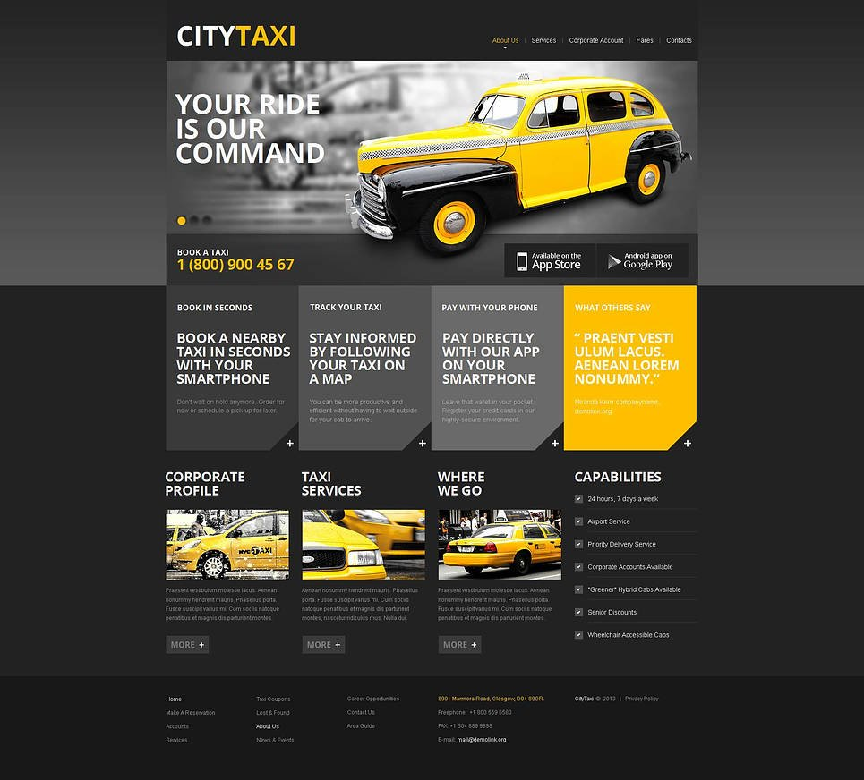 Black and Yellow Website Template for Taxi Services - image
