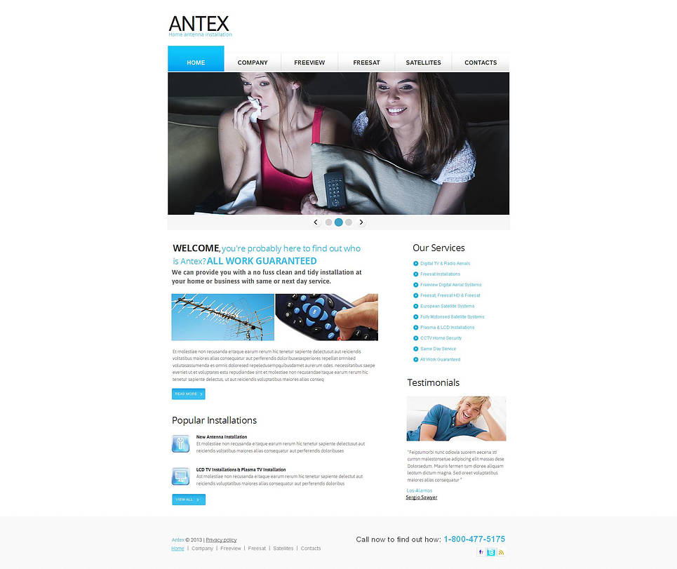 Antenna Installation Website Template with White Background - image