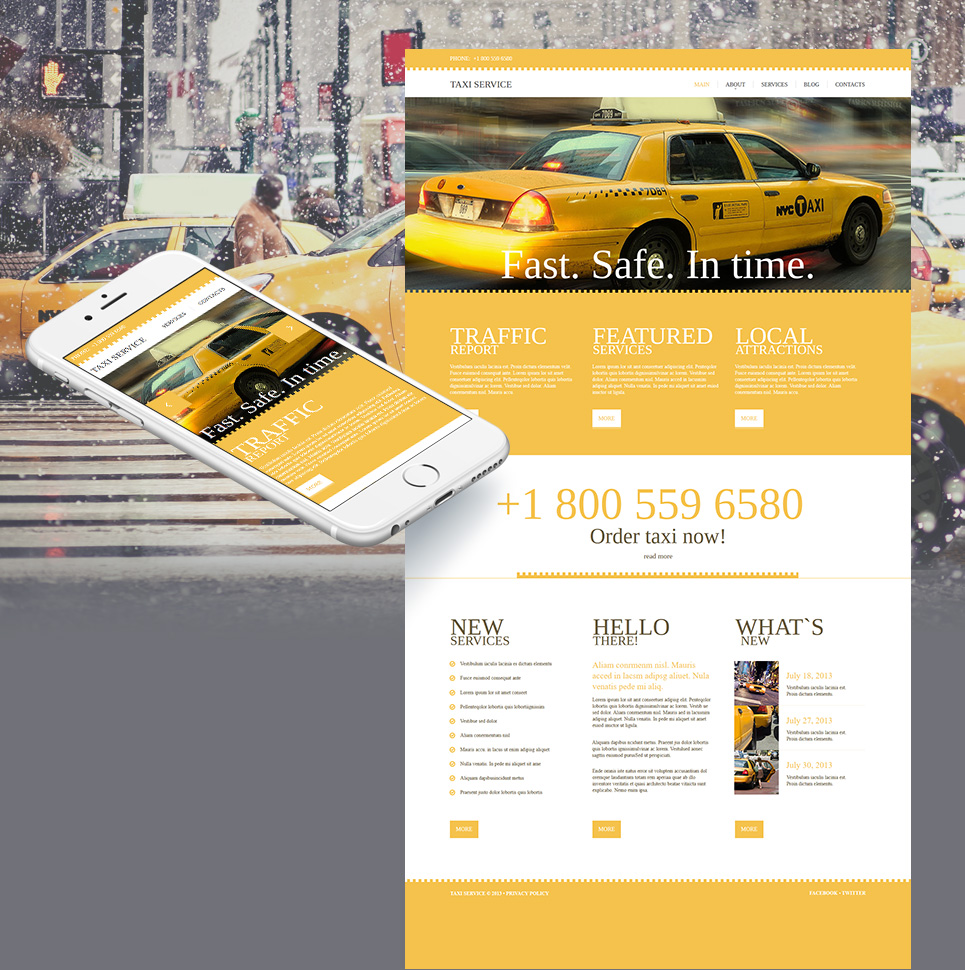 Taxi Website Template in Yellow Tones - image