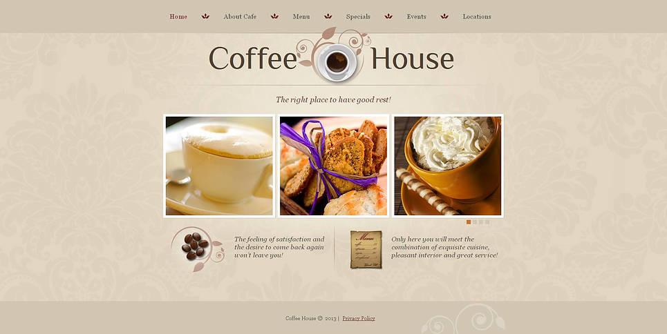 Template Moto CMS HTML  #46867 per Un Sito di Caffetteria New Screenshots BIG